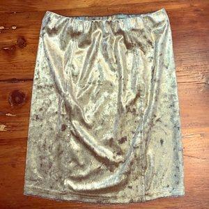 Topshop Gold Bodycon Mini Skirt